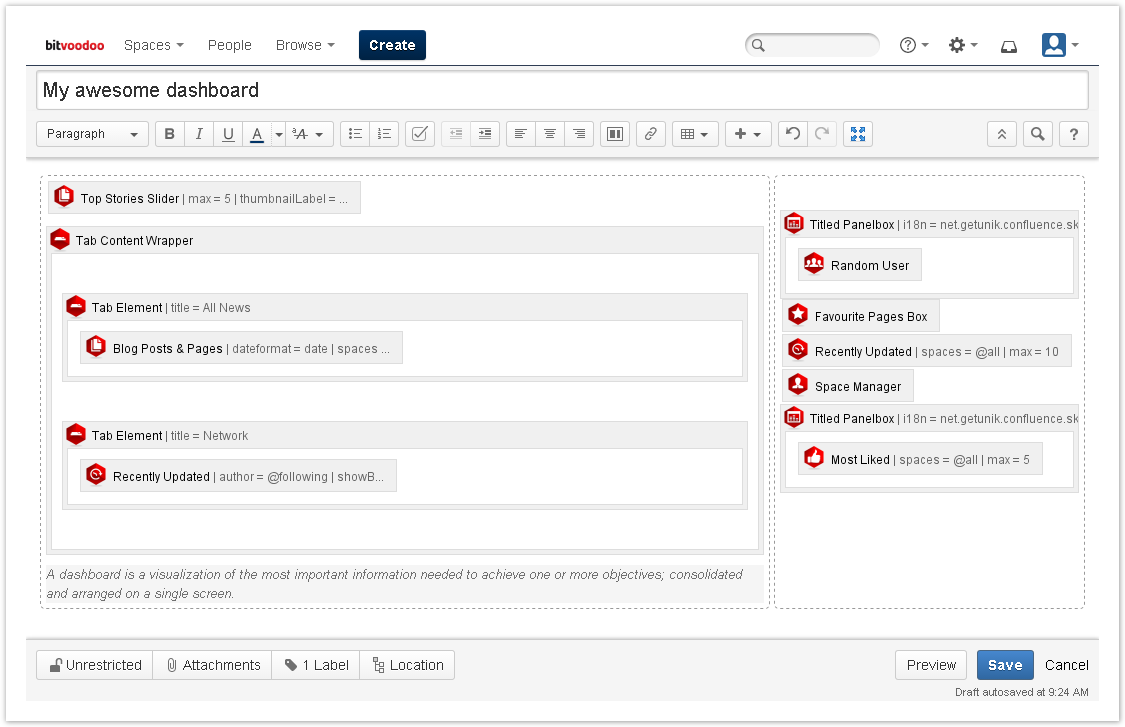 Create a dashboard using the global dashboard blueprint enterprise if you now click on create again you will enter the confluence editor with the predefined blueprint content malvernweather Images