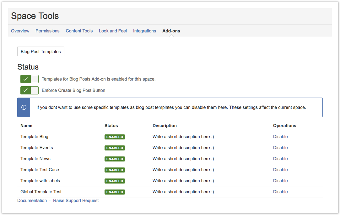 confluence blog post template - disable add on for specific space templates for blog