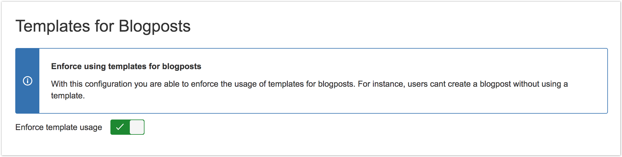 Enforce using templates for blog posts templates for for Confluence blog post template